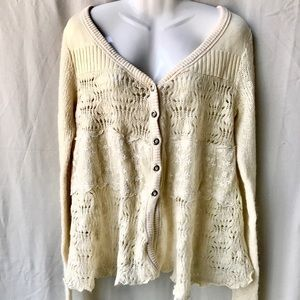 Free People Creme Color Cardigan w White Lace, Med